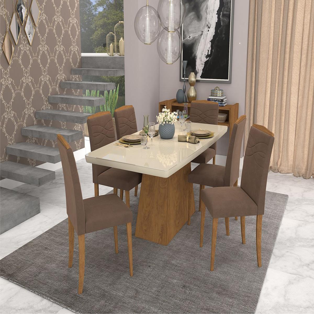 Sala Jantar Helen 180cm x 90cm 6 Cad. Vanessa - Savana/Off White/Chocolate - Cimol