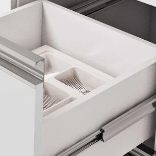 Balcao De Cozinha 100% Mdf Ibiza Para Pia 114 Cm Amendoa/Branco - Mgm