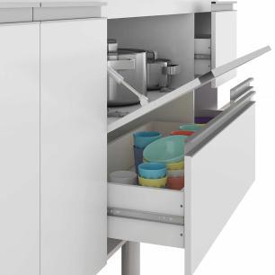 Balcao De Cozinha 100% Mdf Prisma Para Pia 174 Cm Amendoa/Branco - Mgm