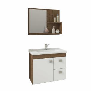Gabinete De Banheiro 100% Mdf Hortencia 55 Cm Com Espelho Amendoa/Branco - Mgm