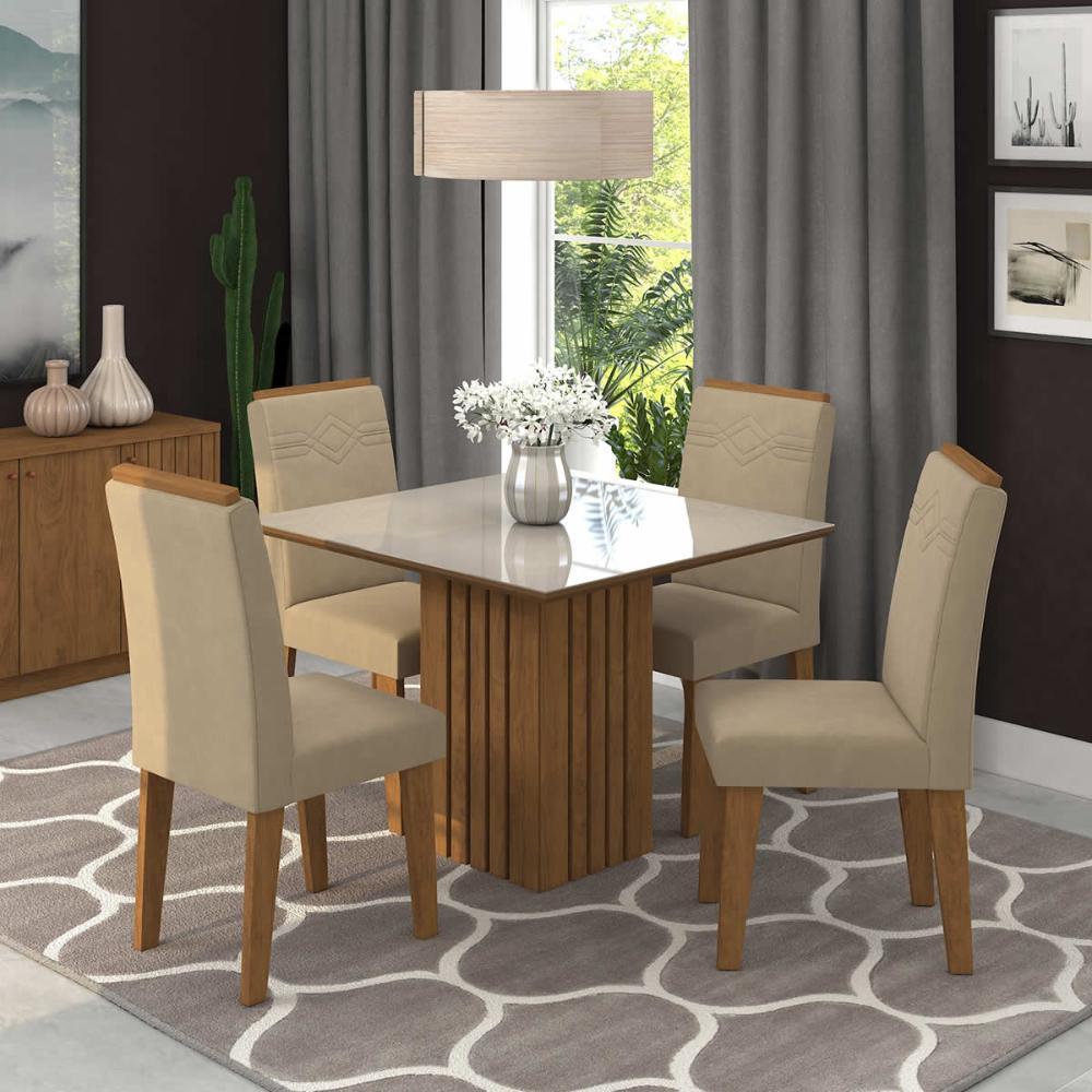 Sala Jantar Ana 95 Cm x 95 Cm Com 4 Cadeiras Tais C/Moldura Savana/Off White/Caramelo - Cimol
