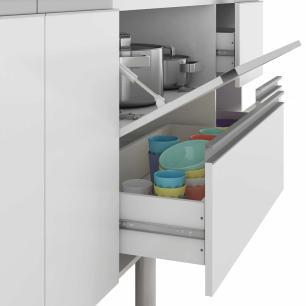 Balcao De Cozinha 100% Mdf Prisma Para Pia 144 Cm Amendoa/Branco - Mgm