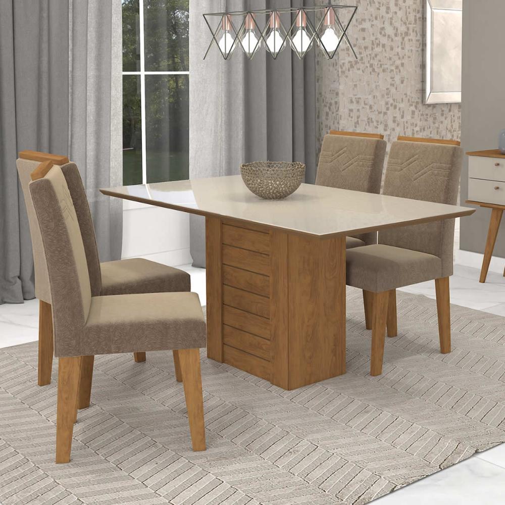 Sala Jantar Rafaela 130 Cm x 80 Cm Com 4 Cadeiras Tais C/Moldura Savana/Off White/Pluma - Cimol