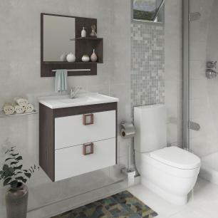 Gabinete De Banheiro 100% Mdf Lirio 59 Cm Com Espelho Cafe/Branco - Mgm