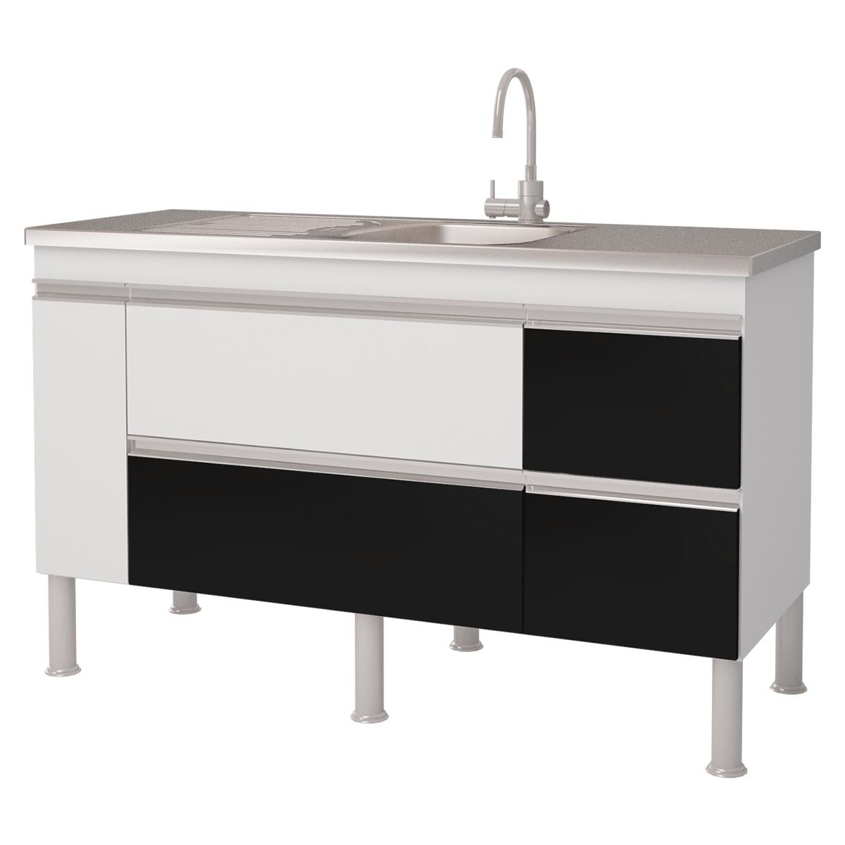 Balcao De Cozinha 100% Mdf Prisma Para Pia 134 cm - Branco/Preto - Mgm