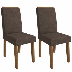 Sala Jantar Ana 95 Cm x 95 Cm Com 4 Cadeiras Tais C/Moldura Savana/Off White/Cacau - Cimol