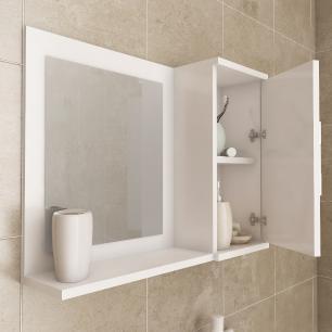 Gabinete De Banheiro 100% Mdf Atenas 65 Cm Com Espelho Amendoa/Branco - Mgm