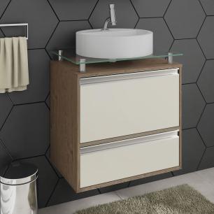 Gabinete De Banheiro 100% Mdf Aveiro 60 Cm Sobrepor Amendoa/Off White - Mgm