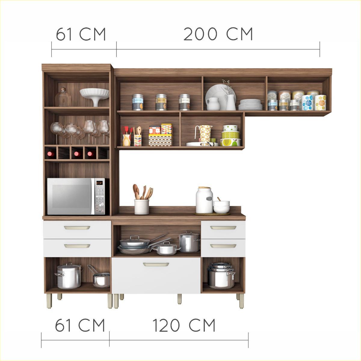 Cozinha Condessa 1 Nogal/Branco - Nesher