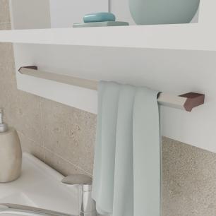 Gabinete De Banheiro 100% Mdf Lirio 59 Cm Com Espelho Amendoa/Branco - Mgm