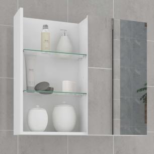 Espelheira para Banheiro 100% MDF Jasmin 60 Cm Branco - Mgm