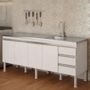 Balcao De Cozinha 100% Mdf Ibiza Para Pia 174 cm - Branco - Mgm