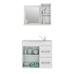Gabinete De Banheiro 100% Mdf Vix 65 Cm Com Espelho Amendoa/Branco - Mgm