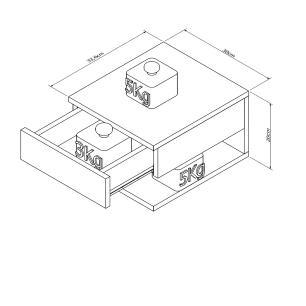 Mesa de Cabeceira Com Gaveta e Prateleira - Branco - Appunto