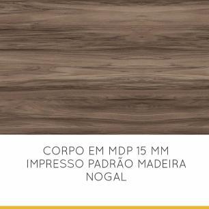 Paneleiro de Cozinha Donna 4 Portas 1 Gaveta 70 cm - Nogal/Branco - Nesher