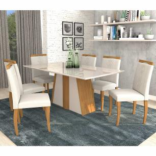 Sala Jantar Daiana 180 Cm x 90 Cm Com 6 Cadeiras Laura Madeira Maciça/Off White/Aspen - Cimol