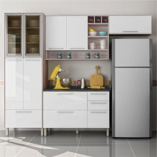 Cozinha Completa Class 2 - Branco Amadeirado - Nesher