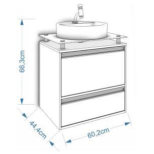 Gabinete De Banheiro 100% Mdf Aveiro 60 Cm Sobrepor Branco/Preto - Mgm