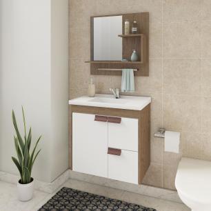 Gabinete De Banheiro 100% Mdf Tulipa 59 Cm Com Espelho Amendoa/Branco - Mgm