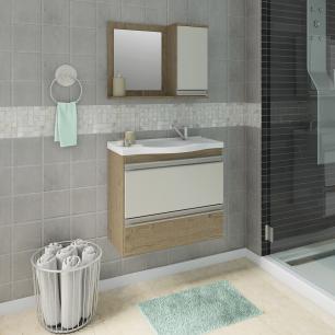 Gabinete De Banheiro 100% Mdf Grecia 65 Cm Com Espelho Carvalho/Off White - Mgm