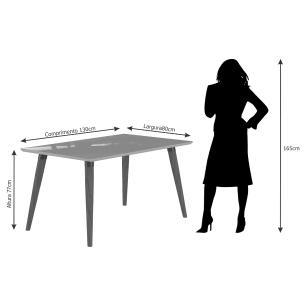 Sala Jantar Adele 130cm x 80cm 4 Cad. Vanessa - Madeira/Off White/Chocolate - Cimol