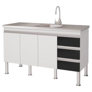 Balcao De Cozinha 100% Mdf Ibiza Para Pia 134 cm - Branco/Preto - Mgm