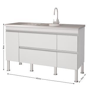 Balcao De Cozinha 100% Mdf Prisma Para Pia 144 cm - Branco - Mgm