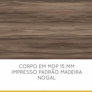 Armario de Cozinha 2 Portas de Vidro Donna 120 cm - Nogal/Branco - Nesher