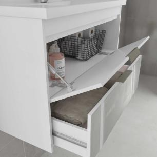 Gabinete De Banheiro 100% Mdf Lavanda 79 Cm Frente Vidro Amendoa/Off White - Mgm
