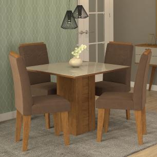 Sala Jantar Rafaela 95 Cm x 95 Cm Com 4 Cadeiras Tais C/Moldura Savana/Off White/Chocolate - Cimol