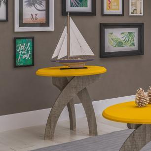Mesa Apoio Jade - Amarelo c/ Canela - Artely