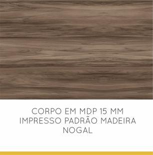 Balcão de Cozinha Condessa 2 Porta 3 gaveta 120 cm - Nogal/Branco - Nesher