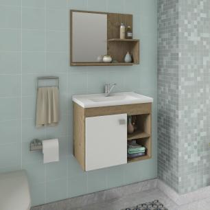 Gabinete De Banheiro 100% Mdf Lotus 55 Cm Com Espelho Carvalho/Branco - Mgm