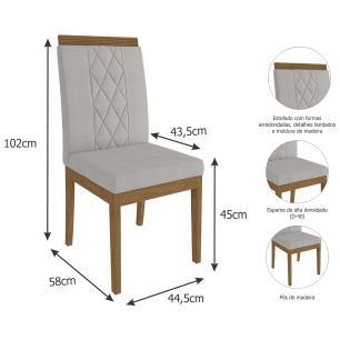 Sala Jantar Adele 130 Cm x 80 Com 4 Cadeiras Alice Madeira/Off White/Aspen - Cimol