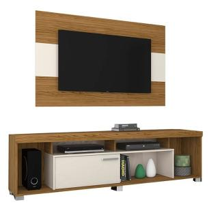 Rack Tomaz com Painel - Naturale/Off White - Madetec