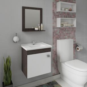 Gabinete De Banheiro 100% Mdf Iris 44 Cm Com Espelho Cafe/Branco - Mgm