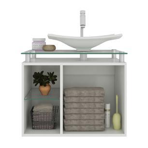 Gabinete De Banheiro 100% Mdf Lagos 60 Cm Sobrepor Branco/Preto - Mgm
