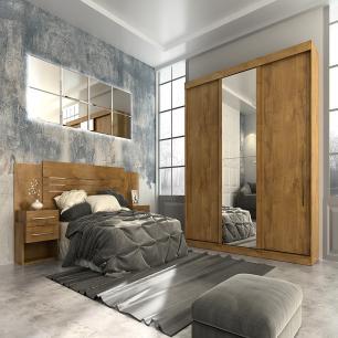 Roupeiro Ravena Plus 3 Portas Slide - 100% MDF - Com Espelho - Canela - Panan