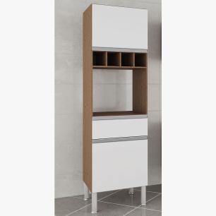 Armario De Cozinha Paneleiro 100% Mdf Prisma Amendoa/Branco - Mgm