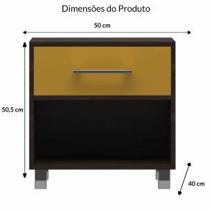Meas de Cabeceira 1 Gaveta E 1 Nicho Modern - Tabaco / Amarelo - Primolar