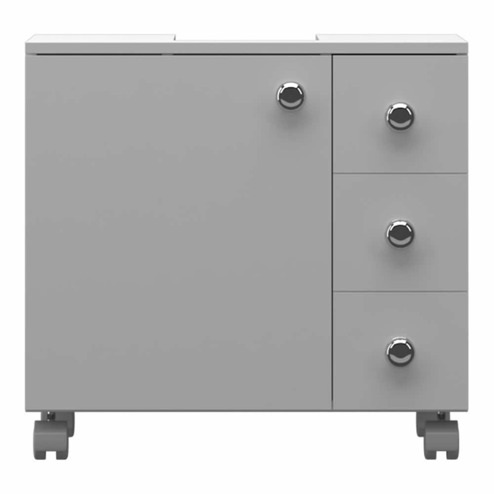 Gabinete 1 Porta / 3 Gavetas (Encaixe) - Branco - Primolar