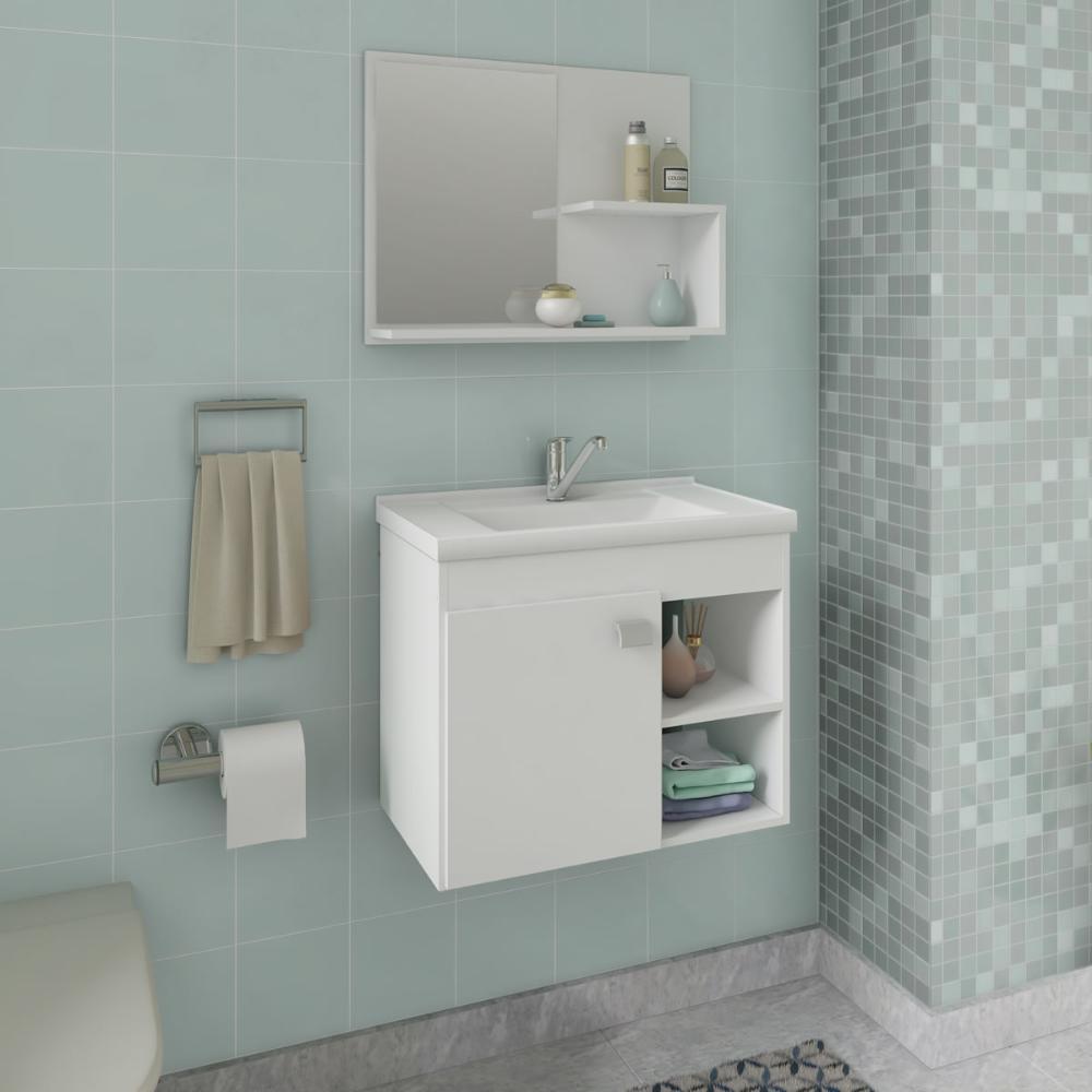 Gabinete De Banheiro 100% Mdf Lotus 55 Cm Com Espelho Branco - Mgm
