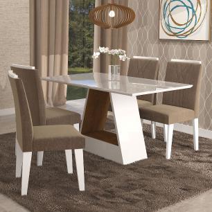Sala Jantar Alana 130cm x 80cm Com 4 Cadeiras Nicole Branco/Savana/Pluma - Cimol
