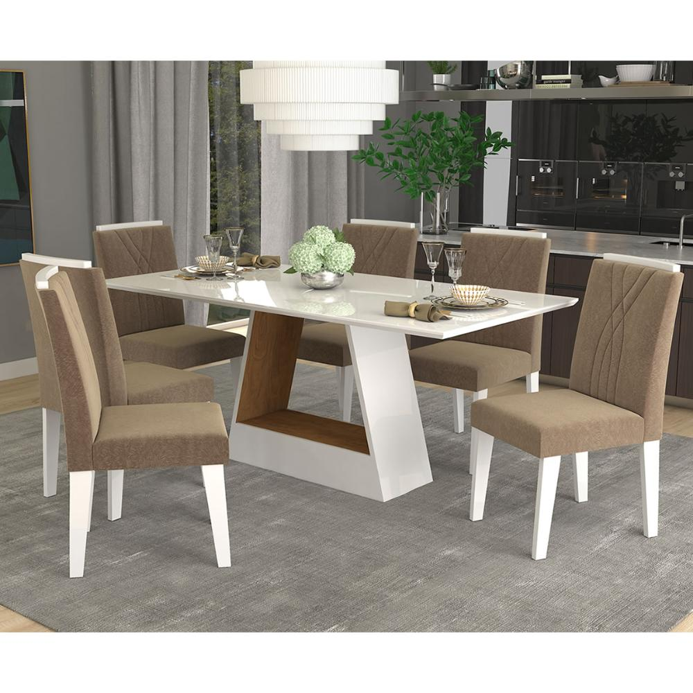 Sala Jantar Alana 180cm x 90cm Com 6 Cadeiras Nicole Branco/Savana/Pluma - Cimol