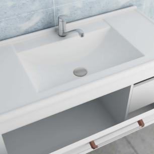 Gabinete De Banheiro 100% Mdf Jade 59 Cm Porta Frizada Amendoa/Branco - Mgm