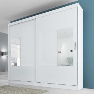 Roupeiro Joinville Slide 2 Portas - 100% MDF - Com Espelho - Branco - Panan
