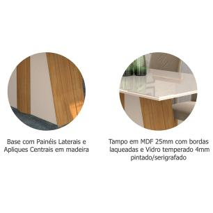 Sala Jantar Daiana 180cm x 90cm 6 Cad. Alice - Madeira/Off White/Aspen - Cimol