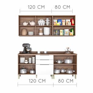 Cozinha Compacta Donna 3 - Nogal/Branco - Nesher