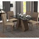 Sala Jantar Agata 130 Cm x 80 Cm Com 4 Cadeiras Nicole Marrocos/Preto/Pluma - Cimol