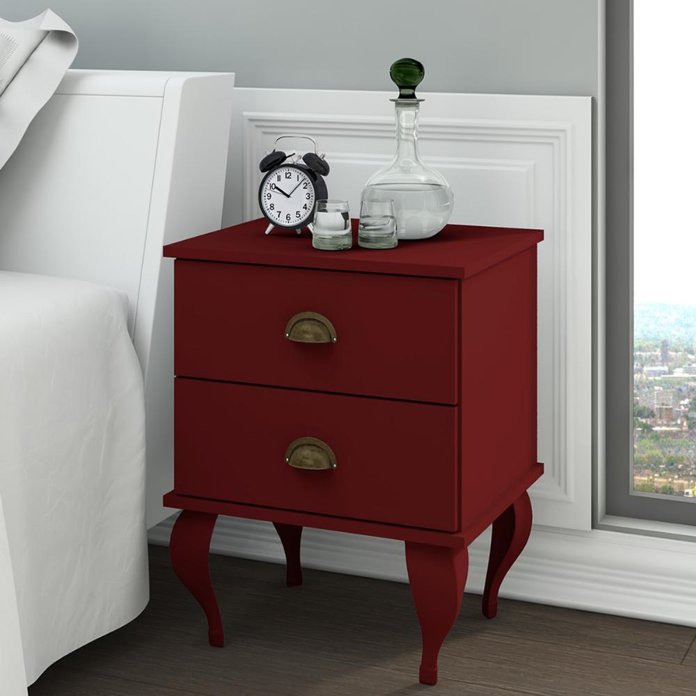 Mesa de Cabeceira Classico 2 Gavetas - Vermelho - Movelbento